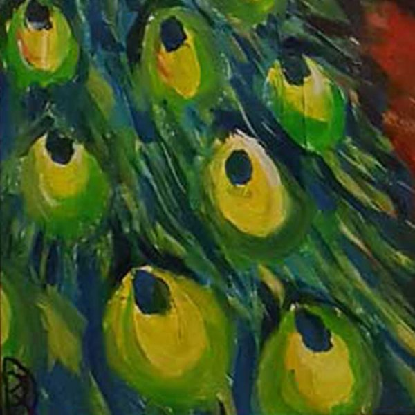 "Peafowl, Oil Painting 6x16"" (14x41cm)"