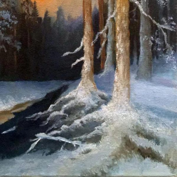 Winter Forest at Full Moon, Oil Painting by Elena Velichkova