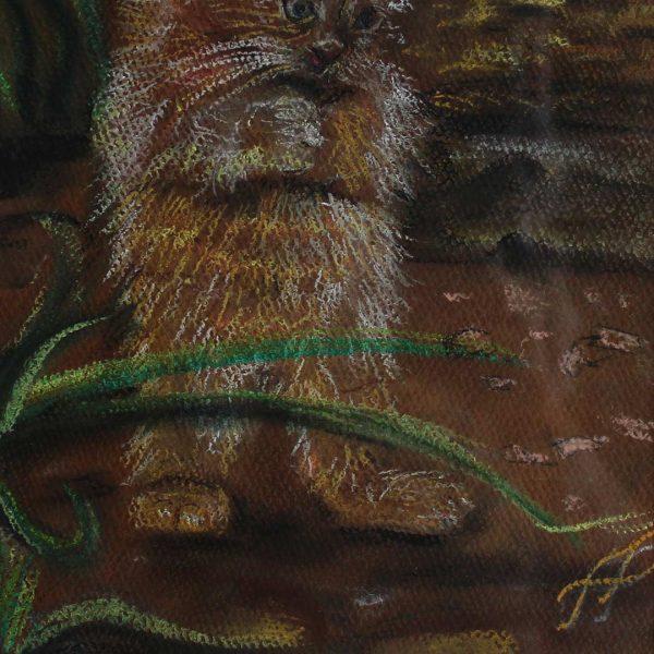 "My Kitty, Crayon Painting 12x16"" (31x41cm)"