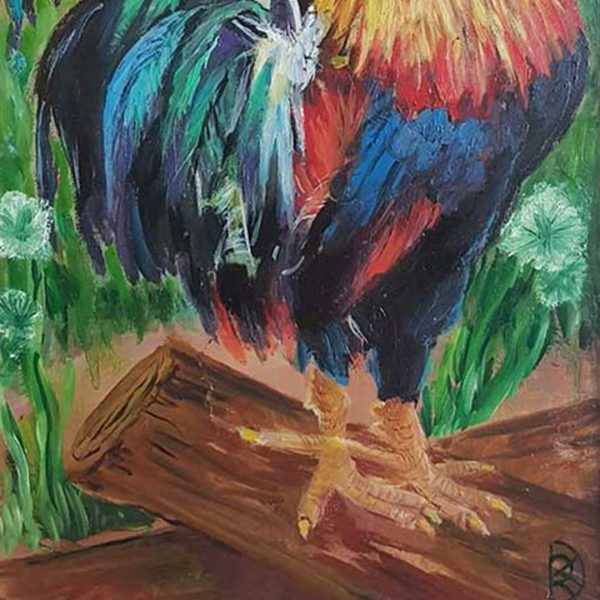 """Rooster, Oil Painting 8x14"""" (21x36cm)"""