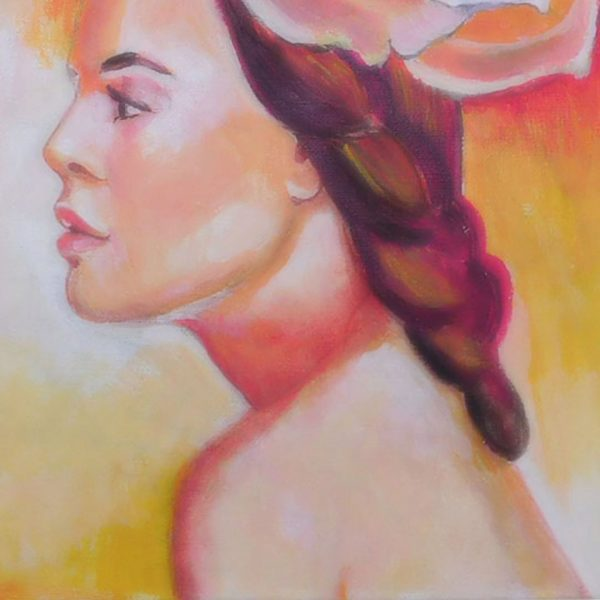 """Woman with Flower, Acrylic Painting 13x17"""" (33x43cm)"""