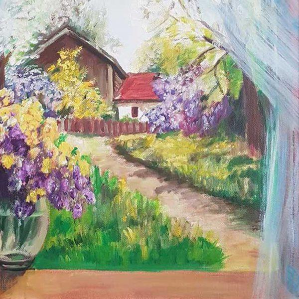 "Through the Window, Oil Painting 16x16"" (40x40cm)"