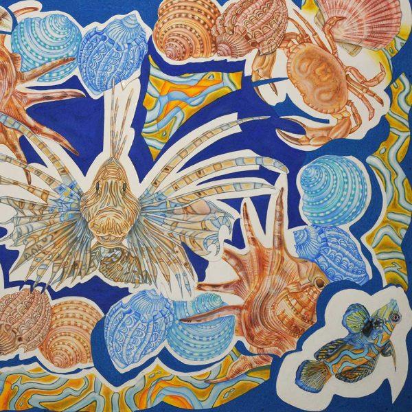 Sea World, Tempera Painting by Iva Donkova