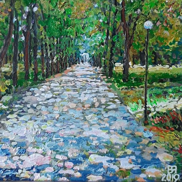 Alley in the Park, Oil Painting by Veselin Nikolov