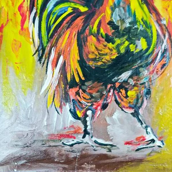 """Rooster, Mixed Painting 16x22"""" (40x55cm)"""
