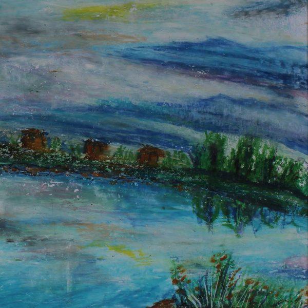 """Landscape, Oil pastels Painting 7x10"""" (19x25cm)"""