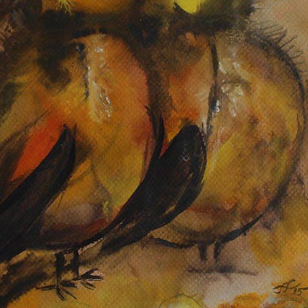 "Sparrows, Water Colour Painting 12x16"" (32x32cm)"
