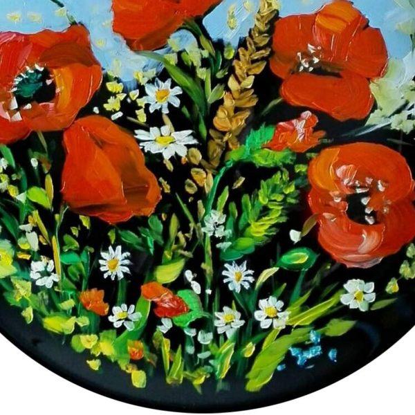 Flowers, Painted Plate by Milena Kamburova