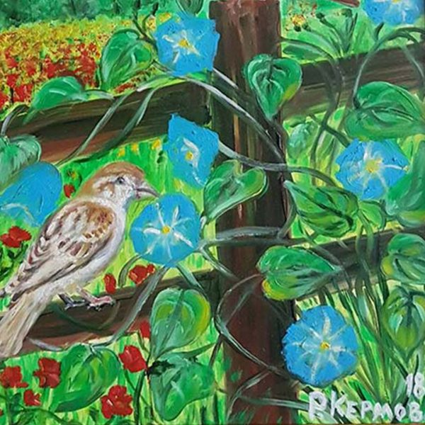 Sparrows on the Fence, Oil Painting by Rumyana Hristova