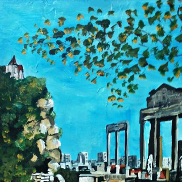 """Amphitheater Plovdiv, Mixed Painting 22x16"""" (55x40cm)"""