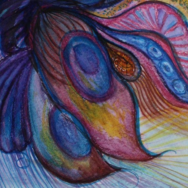 "Peafowl, Water Colour Painting 7x10"" (19x25cm)"