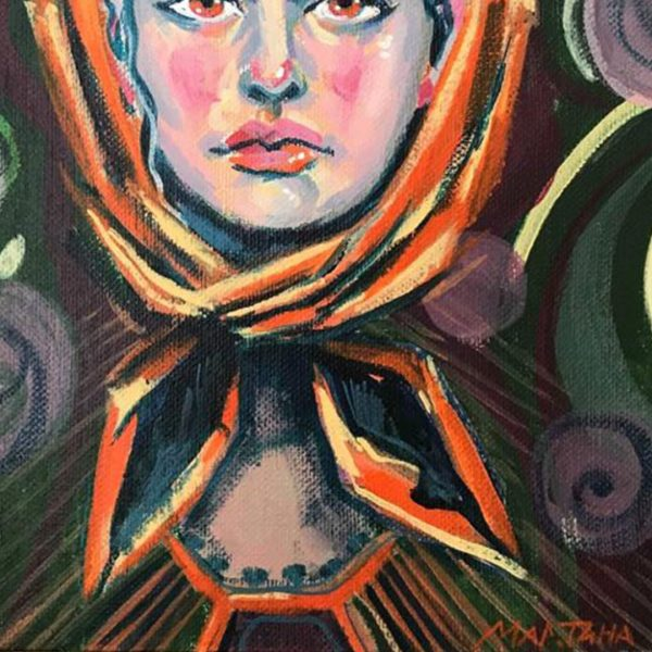 Peasant Woman, Acrylic Painting 9x12 in / 24x30 cm