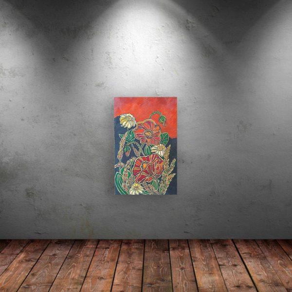 Poppies, Tempera Painting by Lyubka Kovacheva