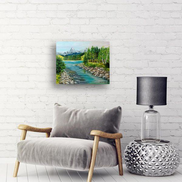 Mountain River, Oil Painting by Ivanka Alexieva
