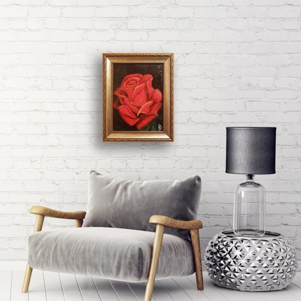 Red Rose, Oil Painting by Rumyana Hristova