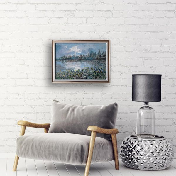 Landscape with River, Acrylic Painting by Veselin Nikolov
