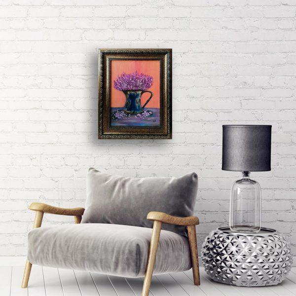 Lavender and Rust, Acrylic Painting by Elena Milanova